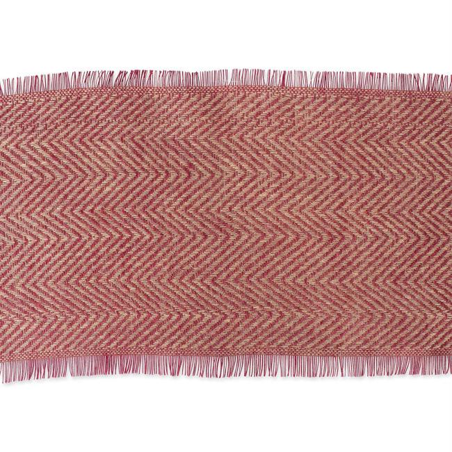 Barn Red Chevron Burlap Table Runner 14x108