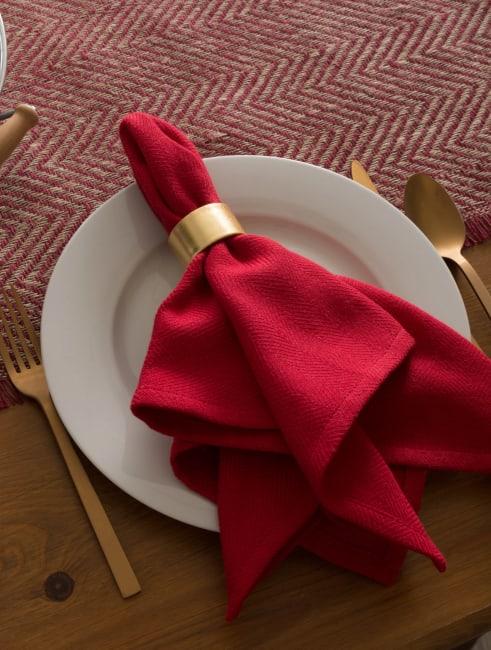 Barn Red Chevron Burlap Table Runner 14x72