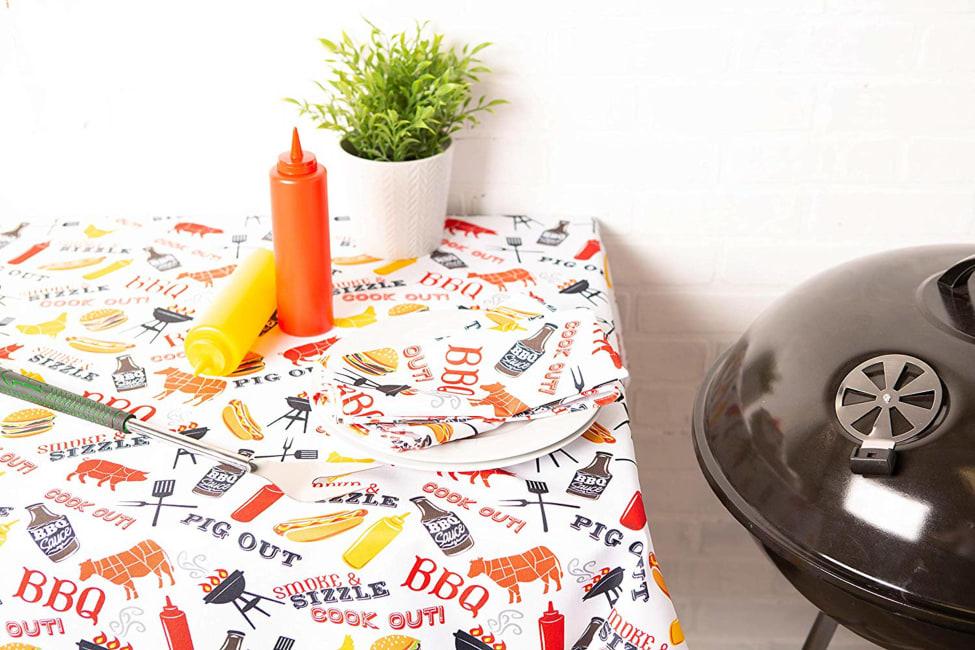 BBQ Fun Print Outdoor Tablecloth With Zipper 60x120