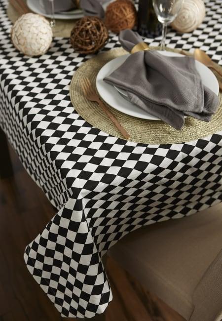 Black and Cream Harlequin Print Tablecloth 60x84