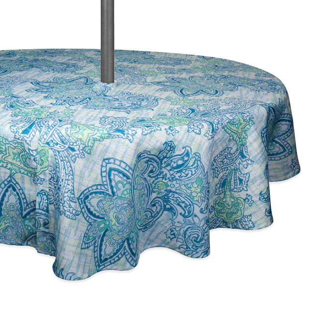 Blue Watercolor Paisley Print Outdoor Tablecloth With Zipper 60 Round