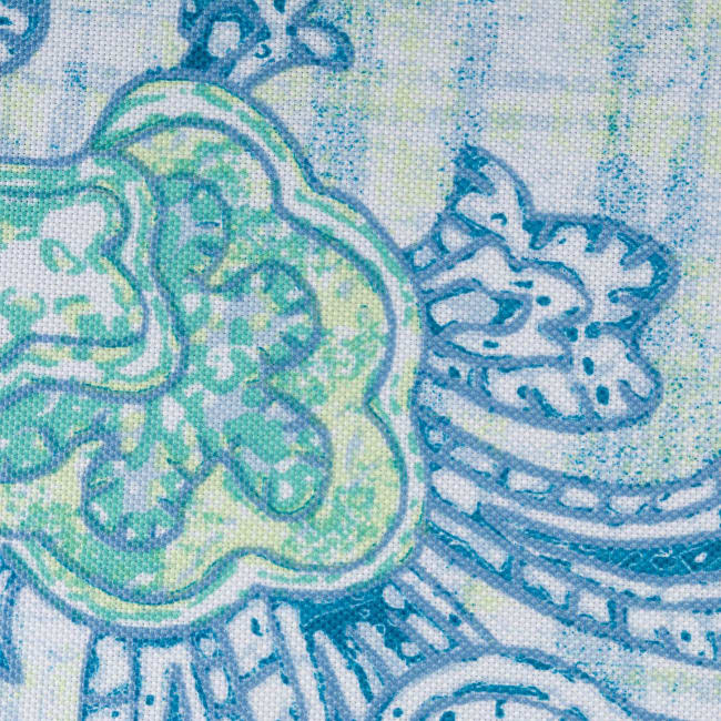 Blue Watercolor Paisley Print Outdoor Tablecloth With Zipper 60x84