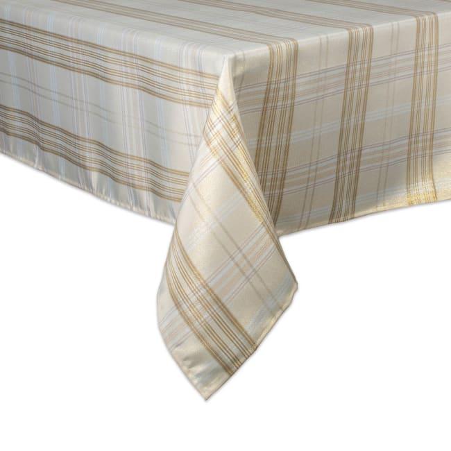 Cream Metallic Plaid Tablecloth 60x84