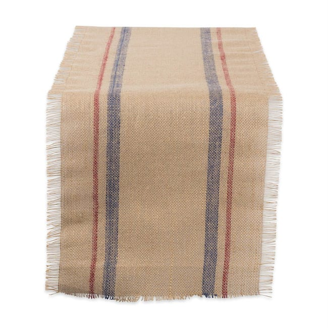 French Blue/Barn Red Double Border Burlap Table Runner 14x108