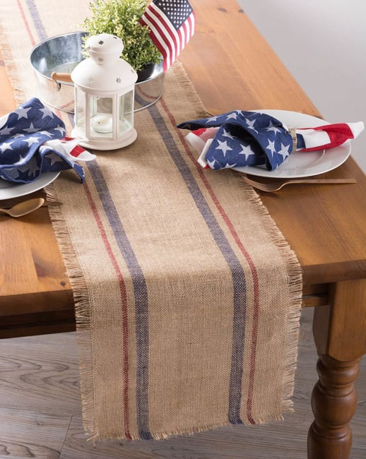 French Blue/Barn Red Double Border Burlap Table Runner 14x72