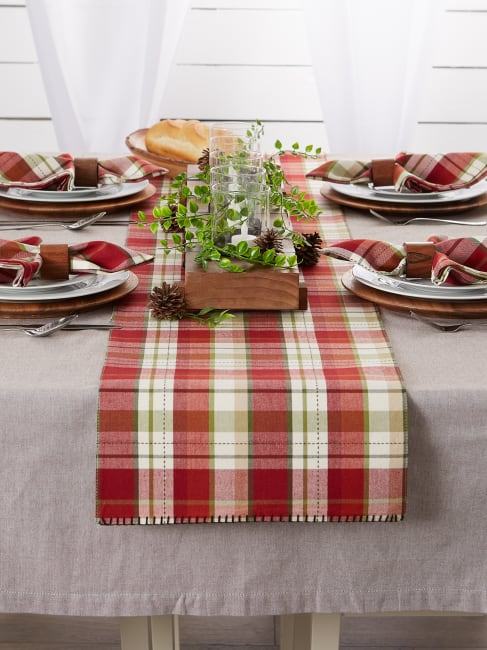 Mountain Trail Plaid Reversible Embellished Table Runner 14x72