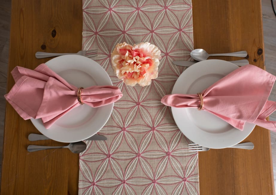 Natural Base Embroidered Flowers Table Runner
