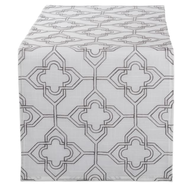 Off White Base Embroidered Lattice Table Runner