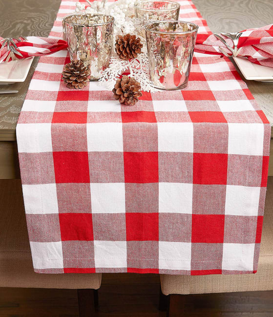 Red and White Buffalo Check Table Runner 14x108