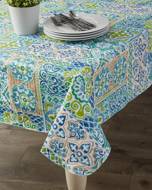 Spanish Tile Vinyl Tablecloth 70
