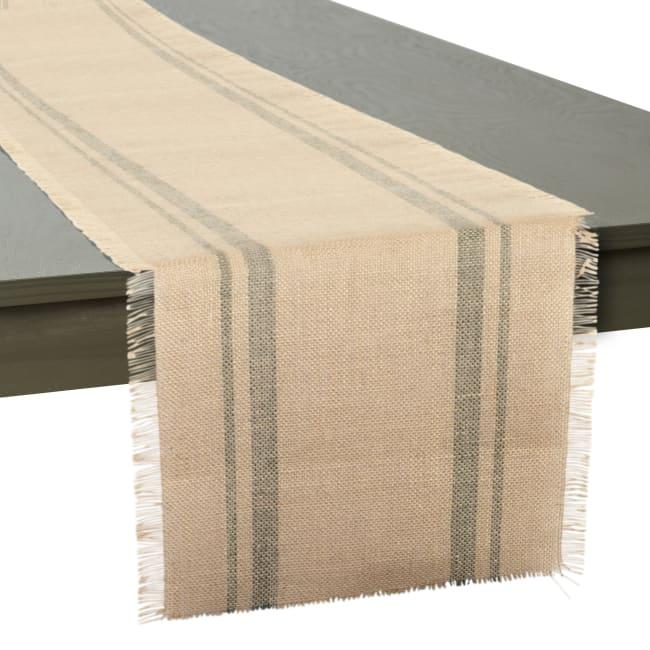 Artichoke Double Border Burlap Table Runner 14x108