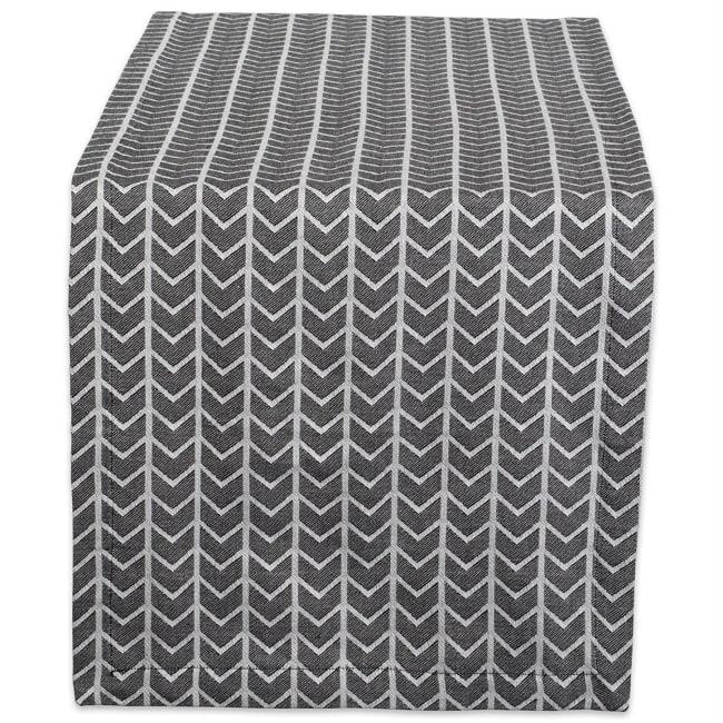 Black and White Herringbone Table Runner 14x72