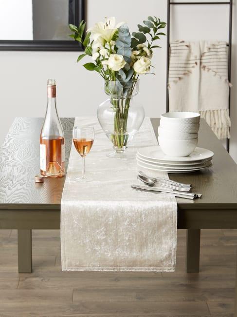 Cream Velvet Table Runner