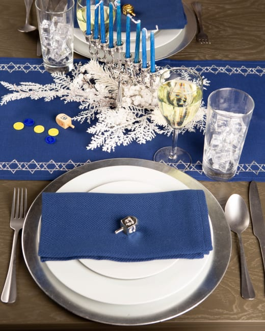 Embroidered Star David Table Runner