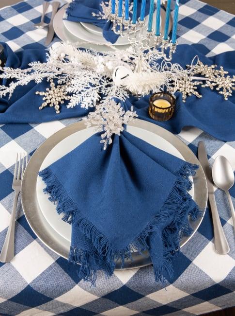 Navy Buffalo Check Tablecloth 52x52
