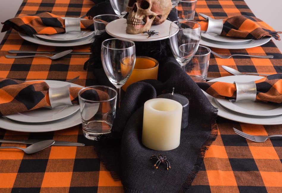 Orange Buffalo Check Tablecloth 60x104