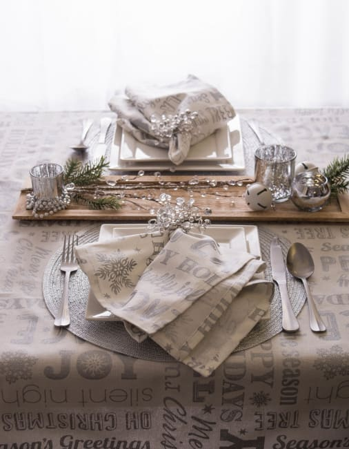 Silver Christmas Collage Tablecloth 52x52