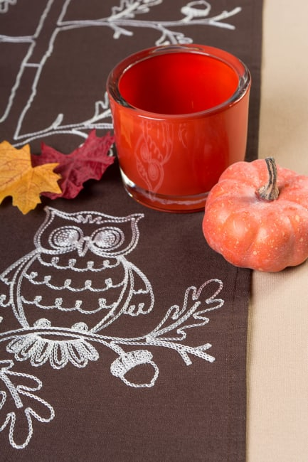 Table Runner Embroidered Owls