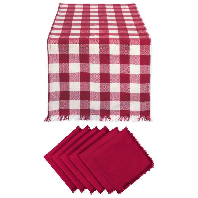 Wine Heavyweight Check Fringed Table Runner