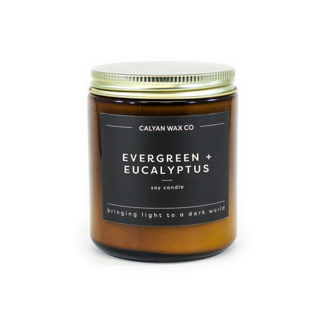 Calyan Wax Co Evergreen/Eucalyptus Soy Wax Candle Amber Jar