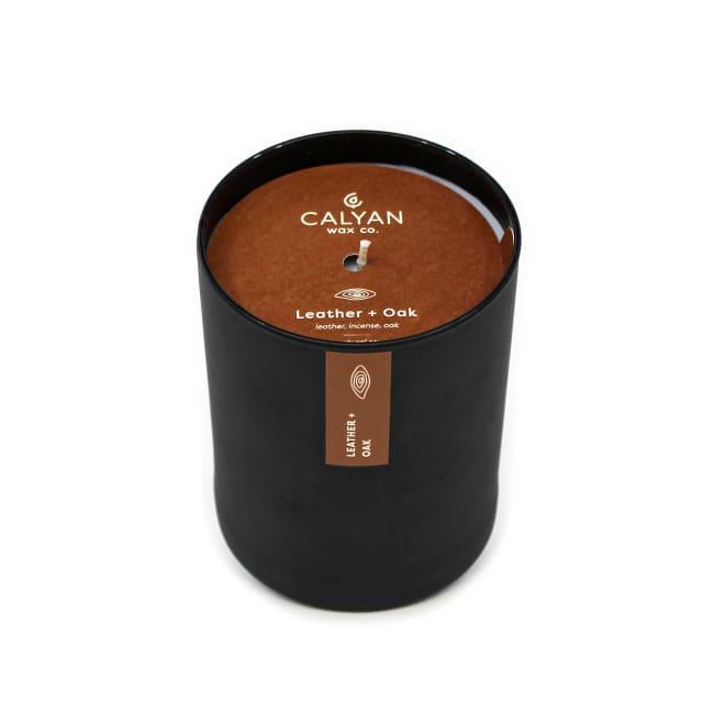Calyan Wax Co Leather/Oak Soy Wax Candle Black Tumbler