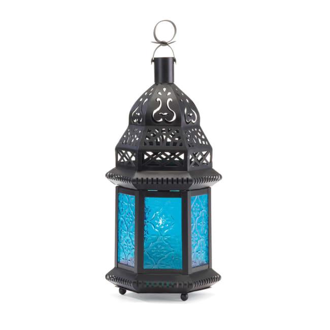 Blue Glass Moroccan Style Lantern
