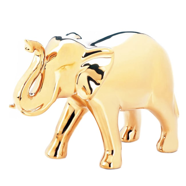 Large Golden Elephant Figure