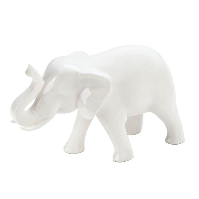 Sleek White Ceramic Elephant Figure