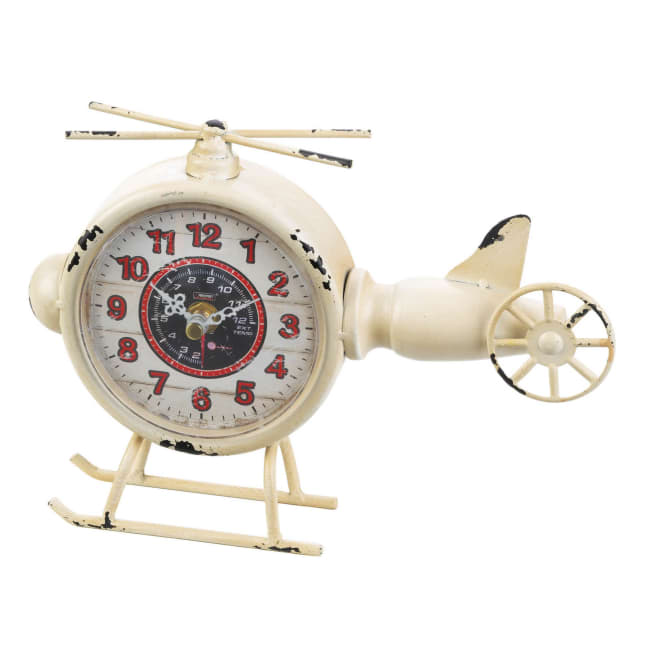 White Helicopter Desk Clock