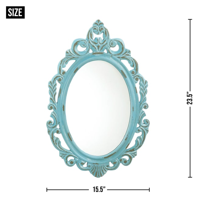 Distressed Baby Blue Wall Mirror