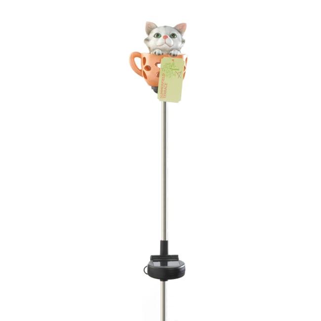 Kitten In Cup Solar Stake
