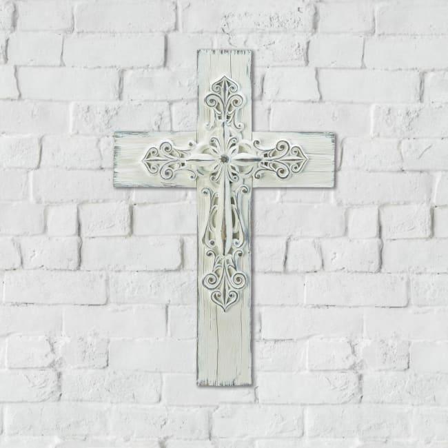 Ornate Whitewashed Cross