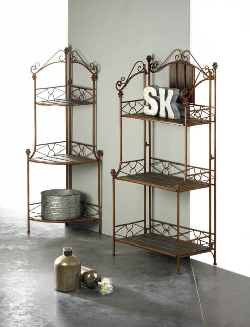 Rustic Corner Baker's Rack
