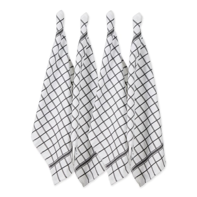 Mineral Gray Windowpane Terry Dishtowel (Set of 4)