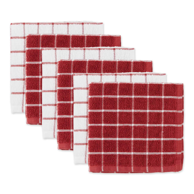 Barn Red Combo Windowpane Dishcloth (Set of 6)