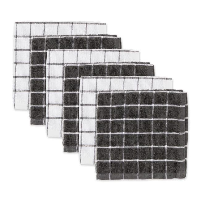 Mineral Gray Combo Windowpane Dishcloth (Set of 6)