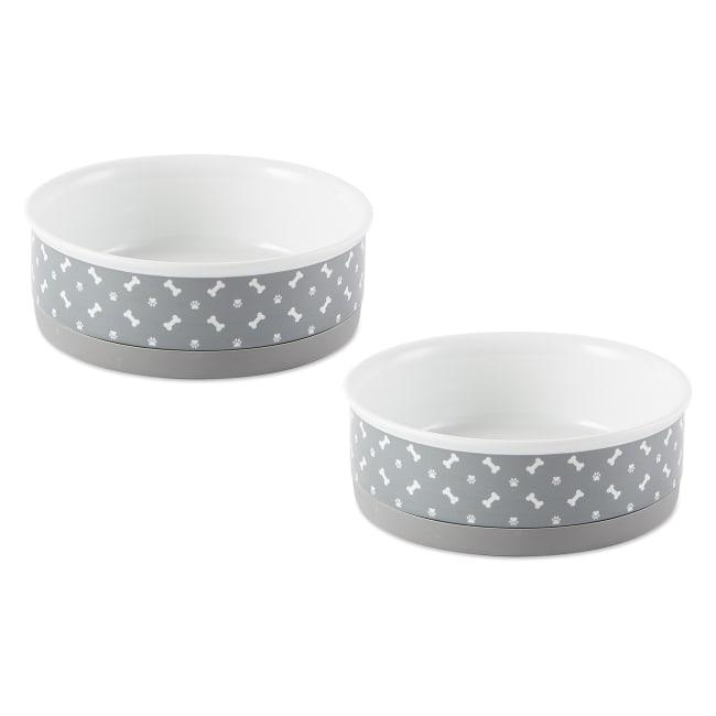 Pet Bowl Tossed Bone & Paw Print Gray Medium 6dx2h (Set of 2)