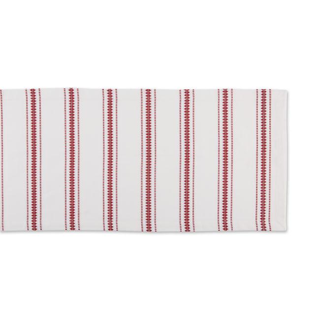 Barn Red Zig Dobby Stripe Table Runner