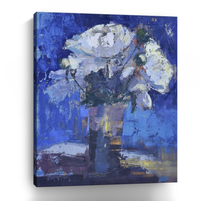 White Peonies Canvas Giclee