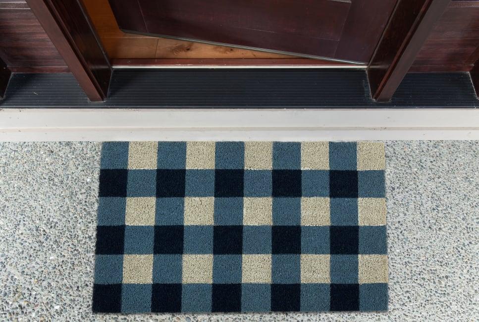 Navy & White Buffalo Check  Doormat