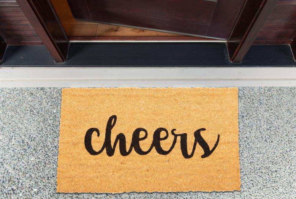 J&M Cheers Vinyl Back Coir Doormat 18x30