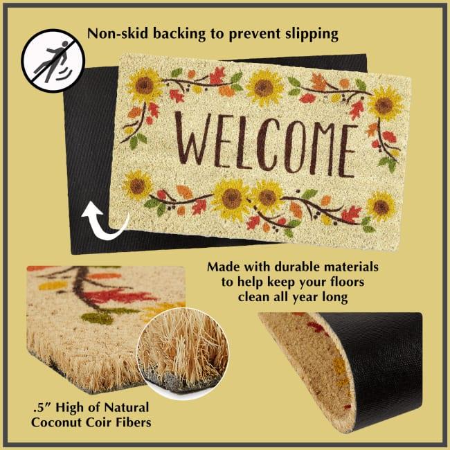 J&M Multi Stripe Vinyl Back Coir Doormat 18x30