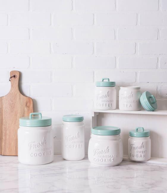 Aqua Ceramic Cookie Jar