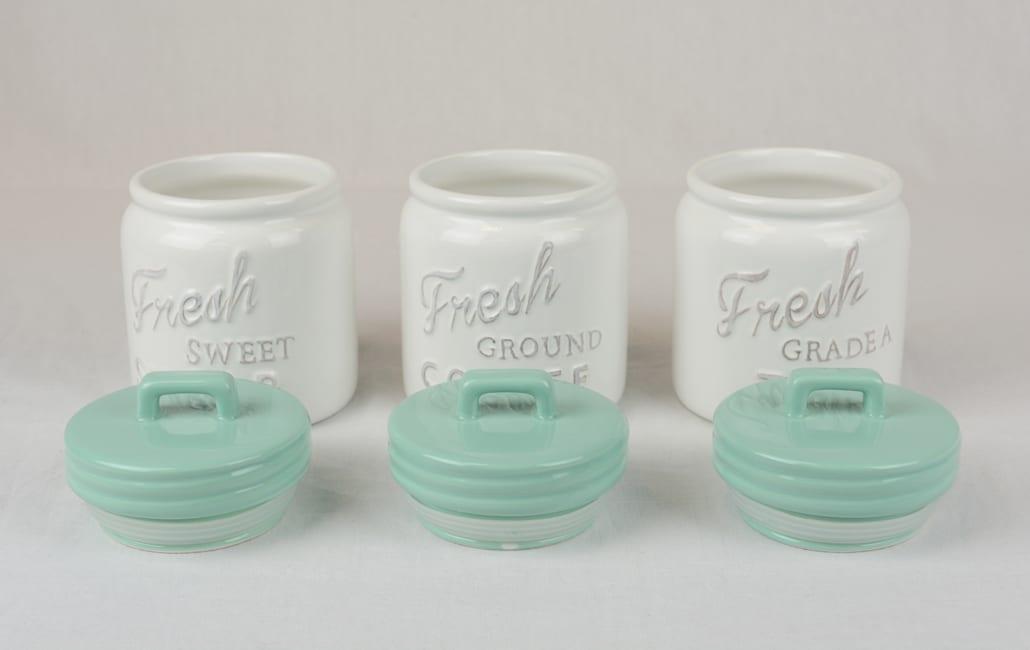 Aqua Ceramic Jar Canister (Set of 3)