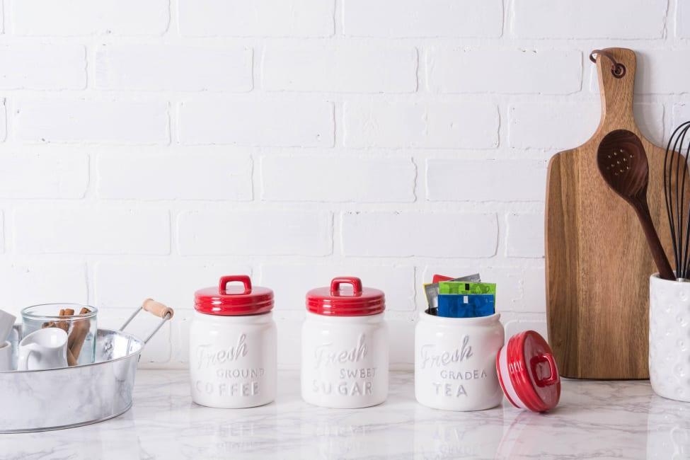 Red Ceramic Jar Canister (Set of 3)