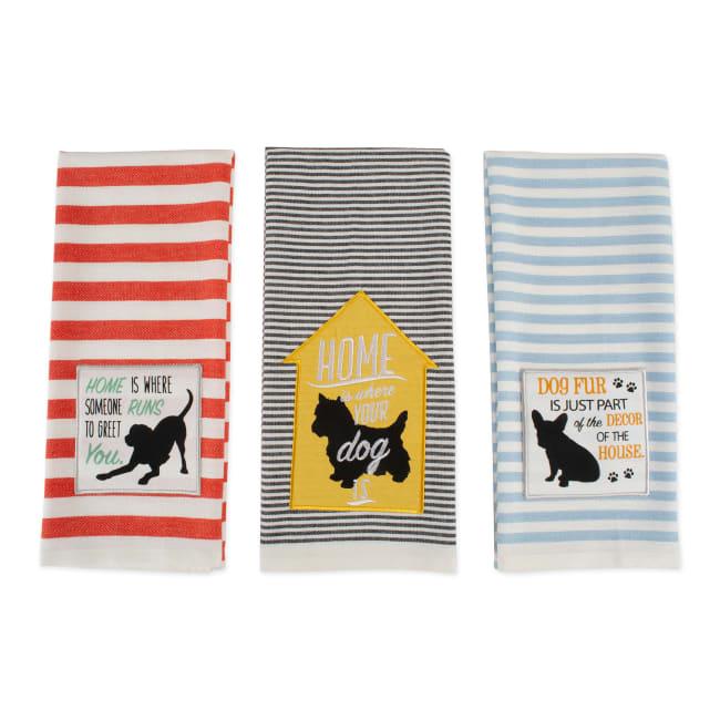 Assorted Dog House Embellished Dishtowel (Set of 3)
