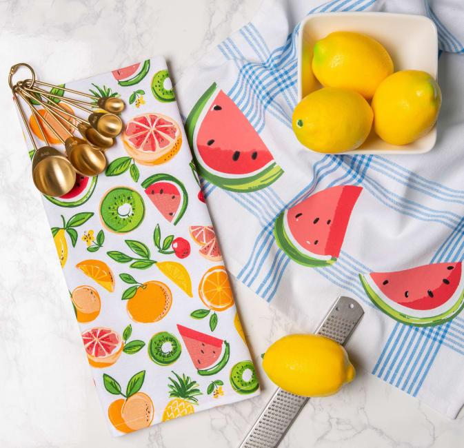 Assorted Fruity Slice Print Dishtowel (Set of 2)
