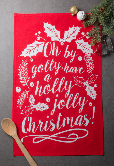 Assorted Red/Green Boughs Of Holly Printed Dishtowel (Set of 3)