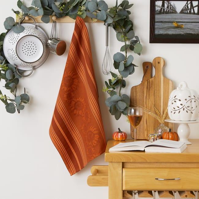 Burnt Orange Sunflower Jacquard Dishtowel Set/2