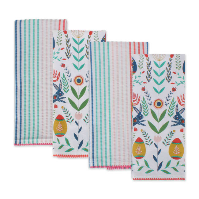 Easter Folk Garden Kitchen Dishtowels Set